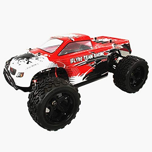 IFLYRC 1/10 Scale RC Car 4WD 2.4GHz High Speed 50km/h Brushed Monster Truck Electric Power Off-Road Buggy RC Car Toys (White-Red)
