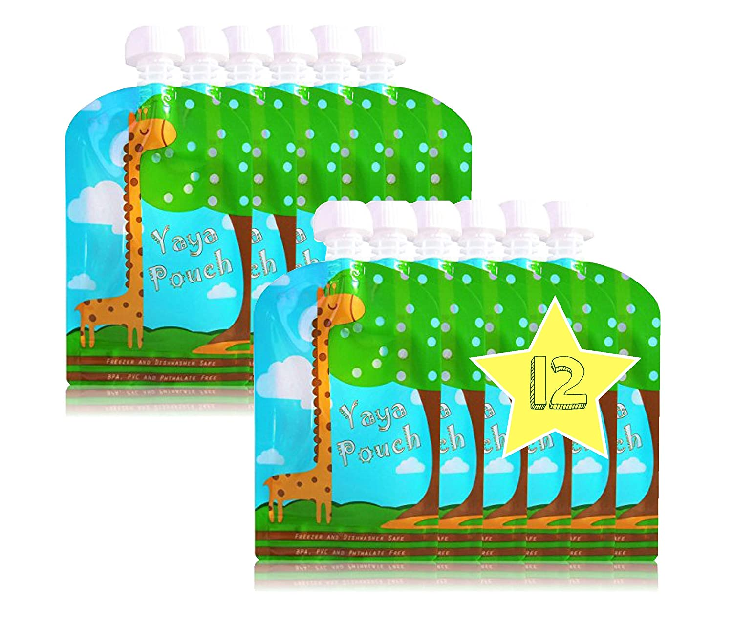Reusable Food Pouch (12 Pack) 5 oz Squeeze Pouches Refillable BPA Free Pouch for Baby and Toddlers