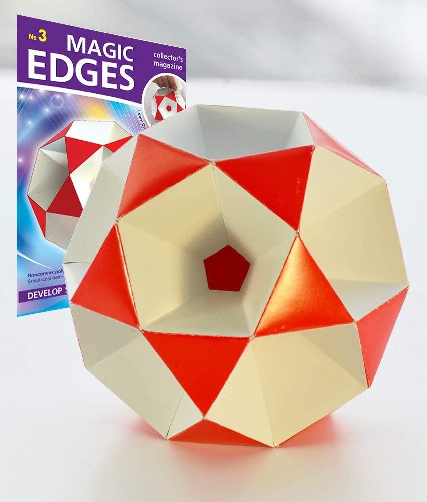 Magic Edges 3. Polyhedra 3D Paper Model Kit. Geometric Solid - Small icosihemidodecahedron. DIY Craft Model