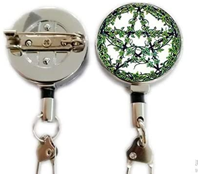 Green Plant Rattan Pentagram Necklace Tree Pendant Wiccan Star Pentacle Jewelry Occult Pendant,Retractable Badge Holder Carabiner Reel Clip On ID Card Holders