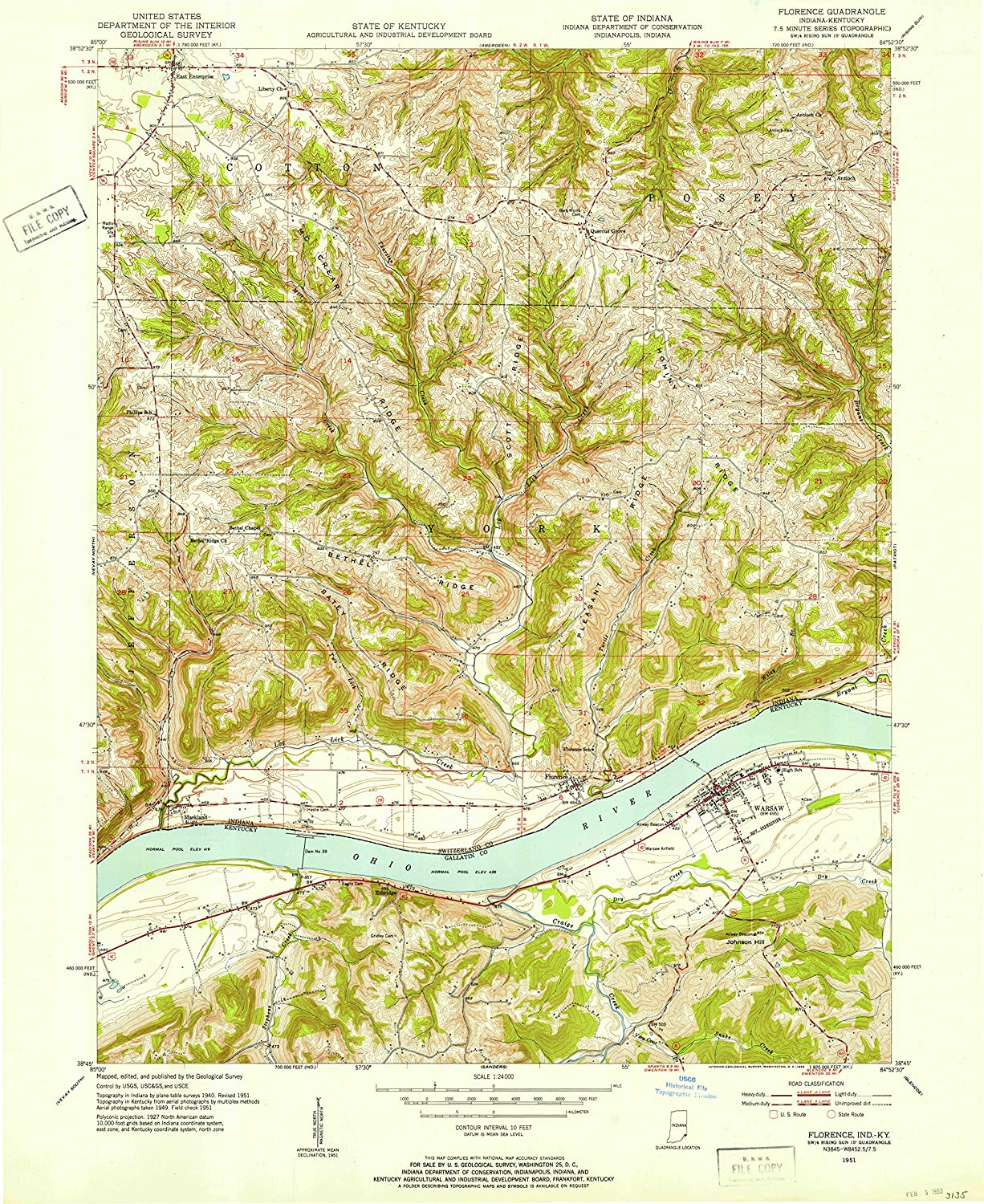 Map Print - Florence, Indiana (1951), 1:24000 Scale - 24