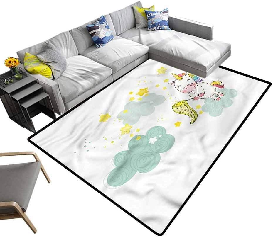 Unicorn, Camping Mat Unicorn Fairies Print Baby Floor Playmats Crawling Mat for Kids Living Room Nursery Home Decor, 3'x 5'