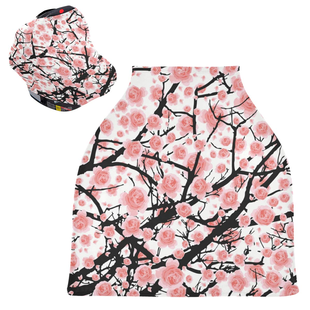Stretchy Baby Car Seat Canopy - Full Pink Bloom Cherry Tree Infant Stroller Cover Multi Use Carseat Canopy Nursing Cover for Breastfeeding