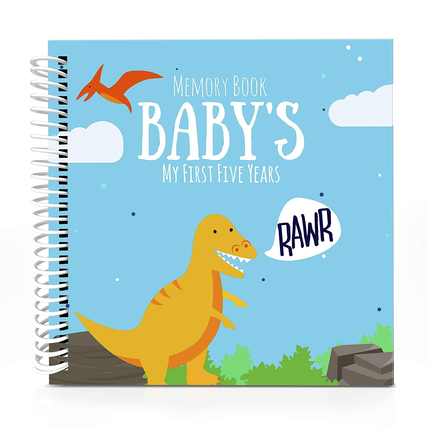 Dinosaur T-Rex Edition Baby's First Five Years Memory Book with Stickers - Newborn Hard Cover Journal - Babies Personalized Keepsake Scrapbook - Baby 5 Years Milestone Photo Album