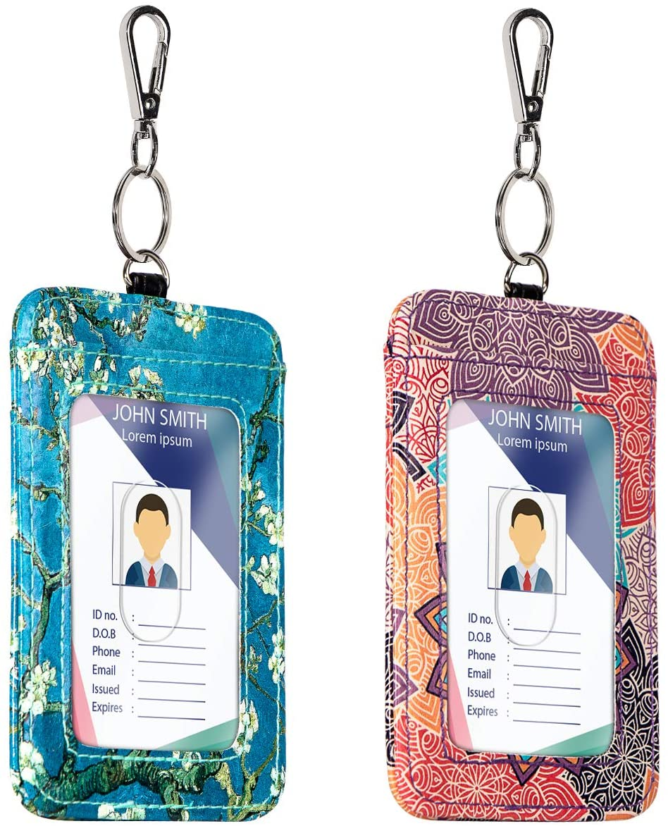 [2 Pack] ID Badge Card Holder RFID Blocking Wallet Pocket and Metal Clip for Offices ID, School ID, Driver Licence