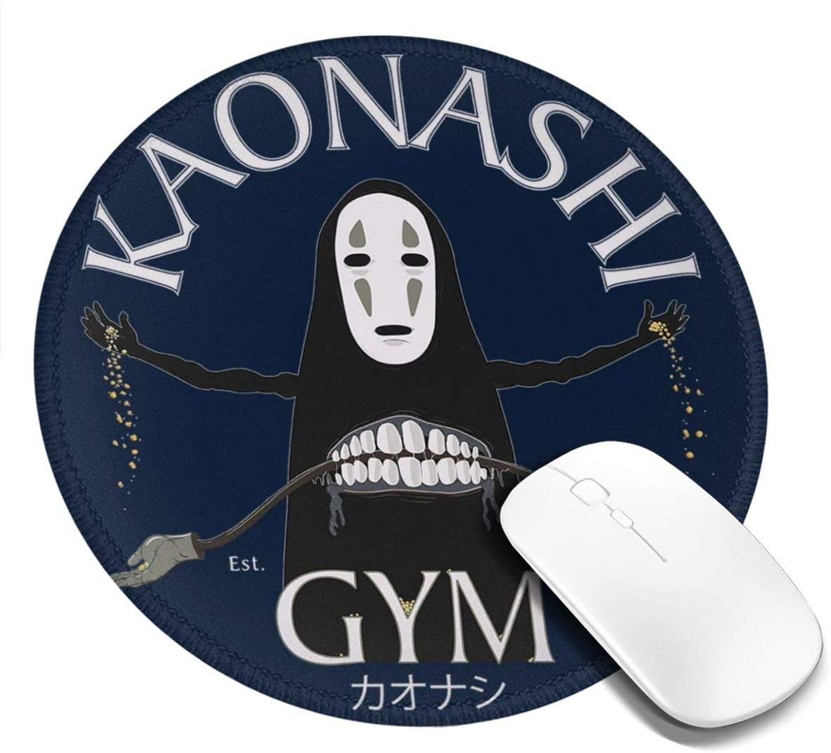 Face Gym Spirited Away Kaonashi Customized Designs Non-Slip Rubber Base Gaming Mouse Pads for Mac,7.9x7.9 in, Pc, Computers. Ideal for Working Or Game