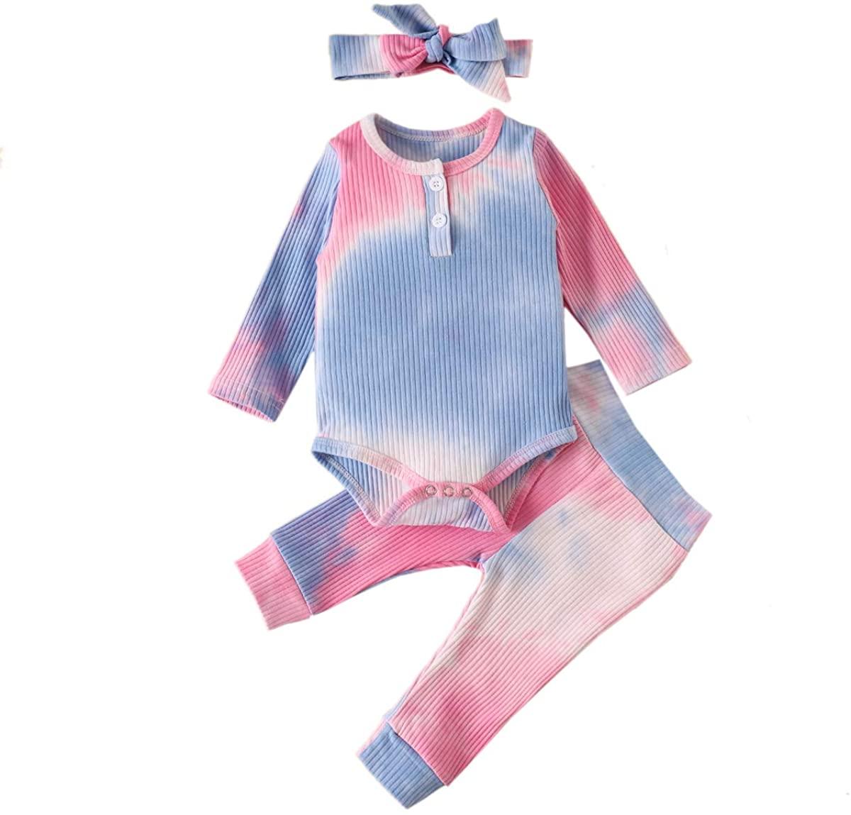 Unisex Baby Pajamas Baby Boy Girl Tie Dye Clothes Long Sleeve Romper Bodysuit Tops Pants Headband Set