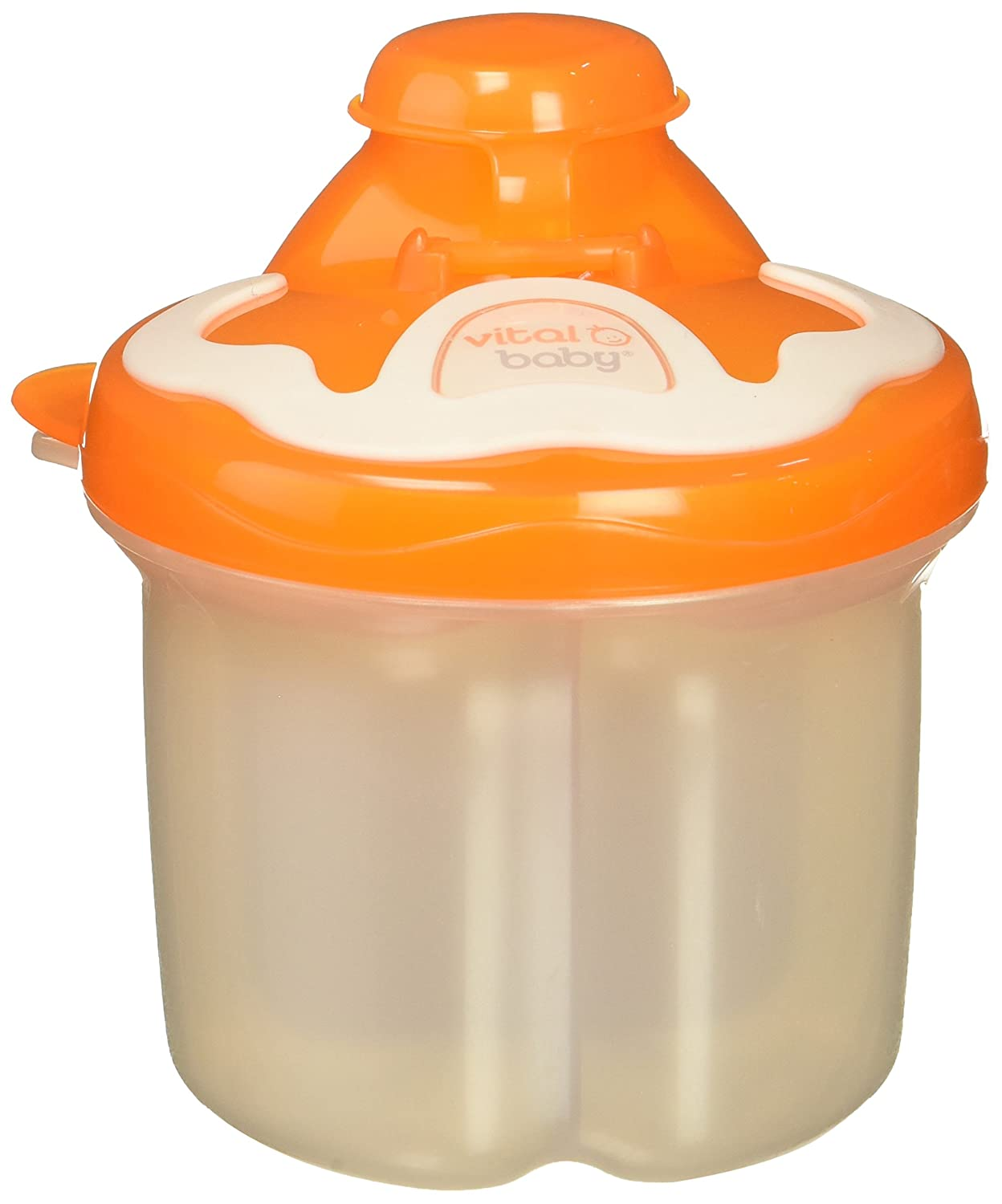 Vital Baby Formula Dispenser in Powder Storage with 3 Revolving Compartments and Also Perfect for Snacks, Orange