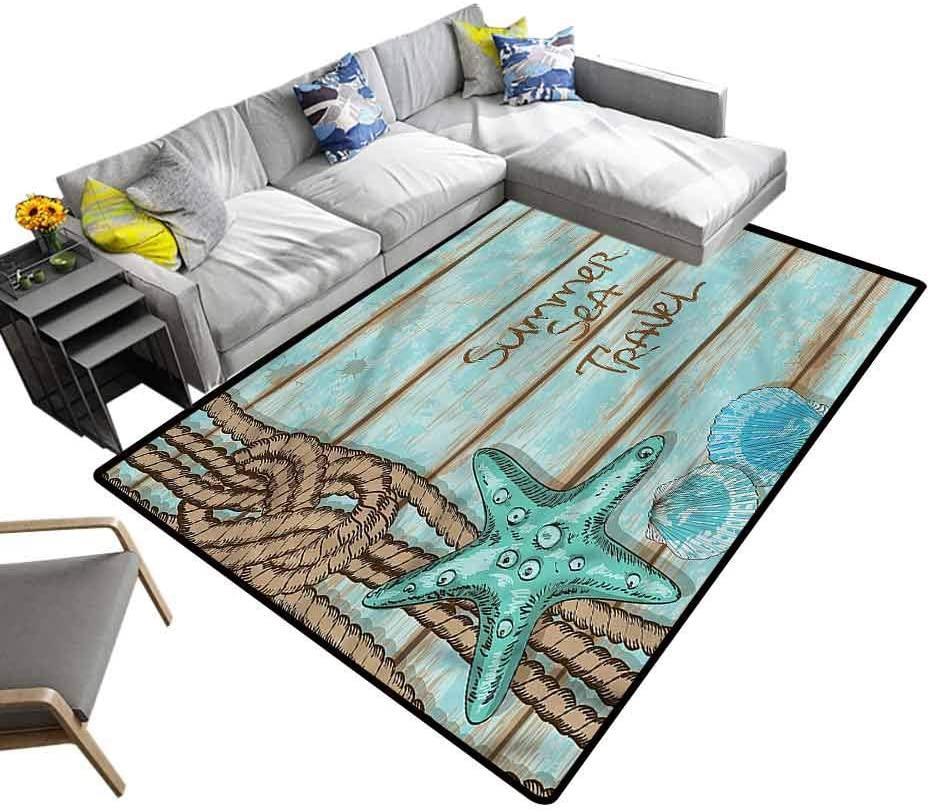 Starfish, Nursery Rugs Summer Travel Kids Dorm Floor Mat for Baby Nursery Decor, 4'x 6'