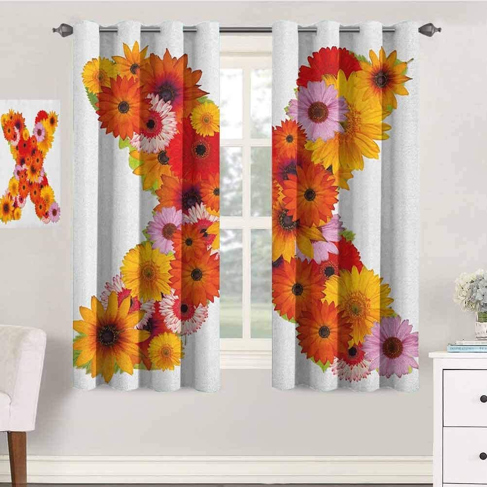 jinguizi Letter X Nursery/Baby Care Curtains 42X54 Inches X Letter Shape Alphabet with Multicolored Daisies Leafs and Petals Nature Elements Indo Treatment Panes