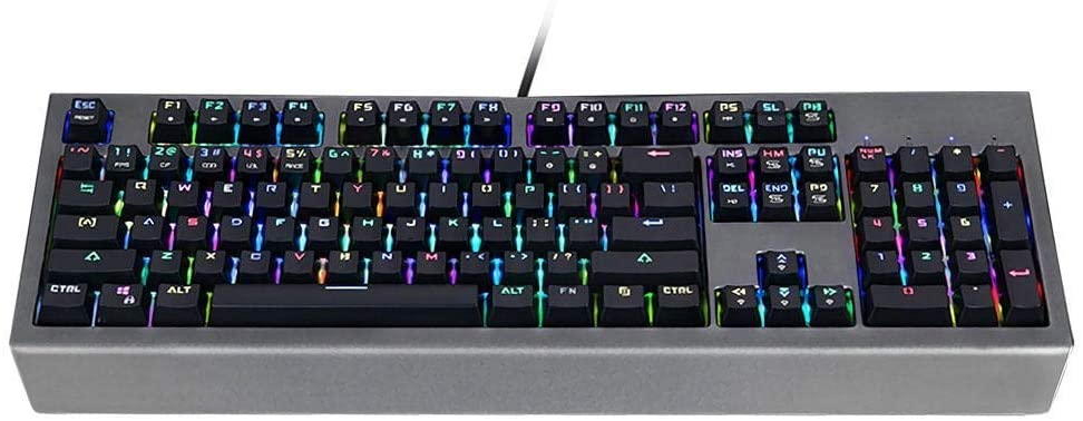Mechanical Gaming Keyboard 104 Key RGB Gaming Keyboard Blue Switch Mechanical Gaming Keyboard for Gaming (Color : Photo Color, Size : One Size)