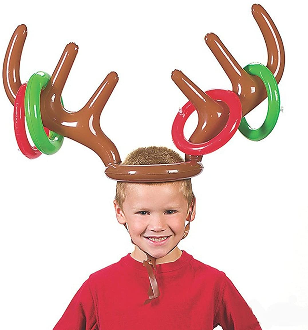 Rely2016 Christmas Inflatable Reindeer Antler Hat Ring Toss Game Children Educational Toys