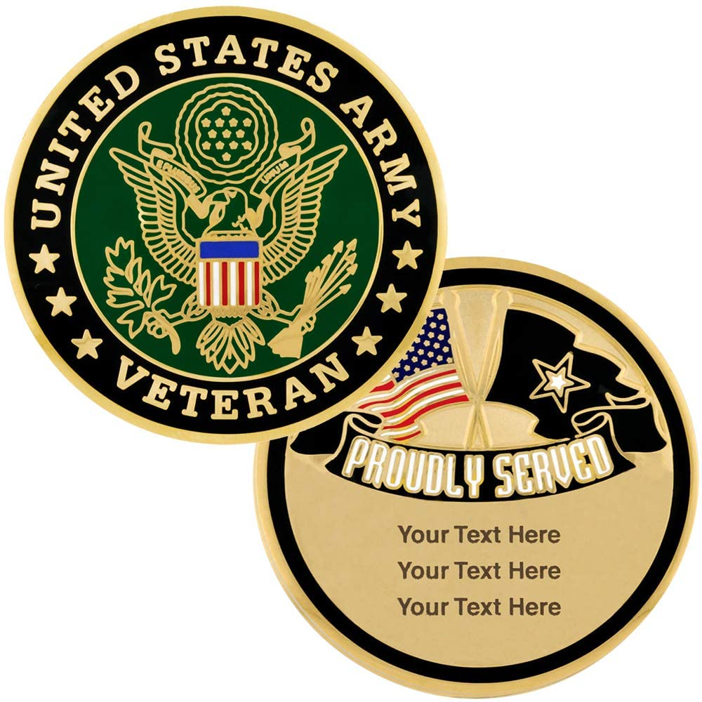 PinMart Military U.S. Army Veteran Engravable Personalized Challenge Coin Gift