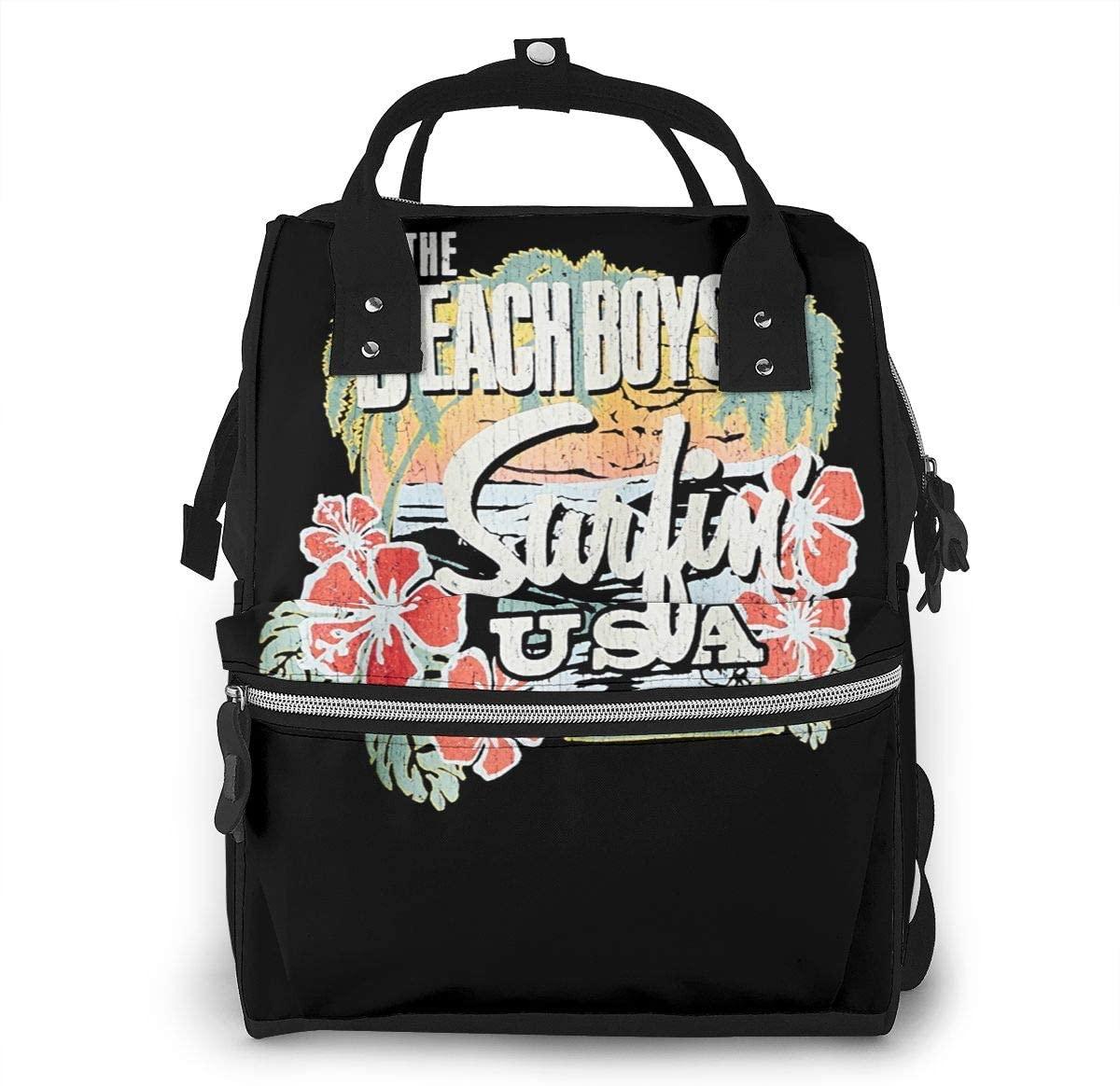 Sherrygeoffrey Beach Boys Surfin USA Tropical Diaper Backpack Large Capacity Travel Bag
