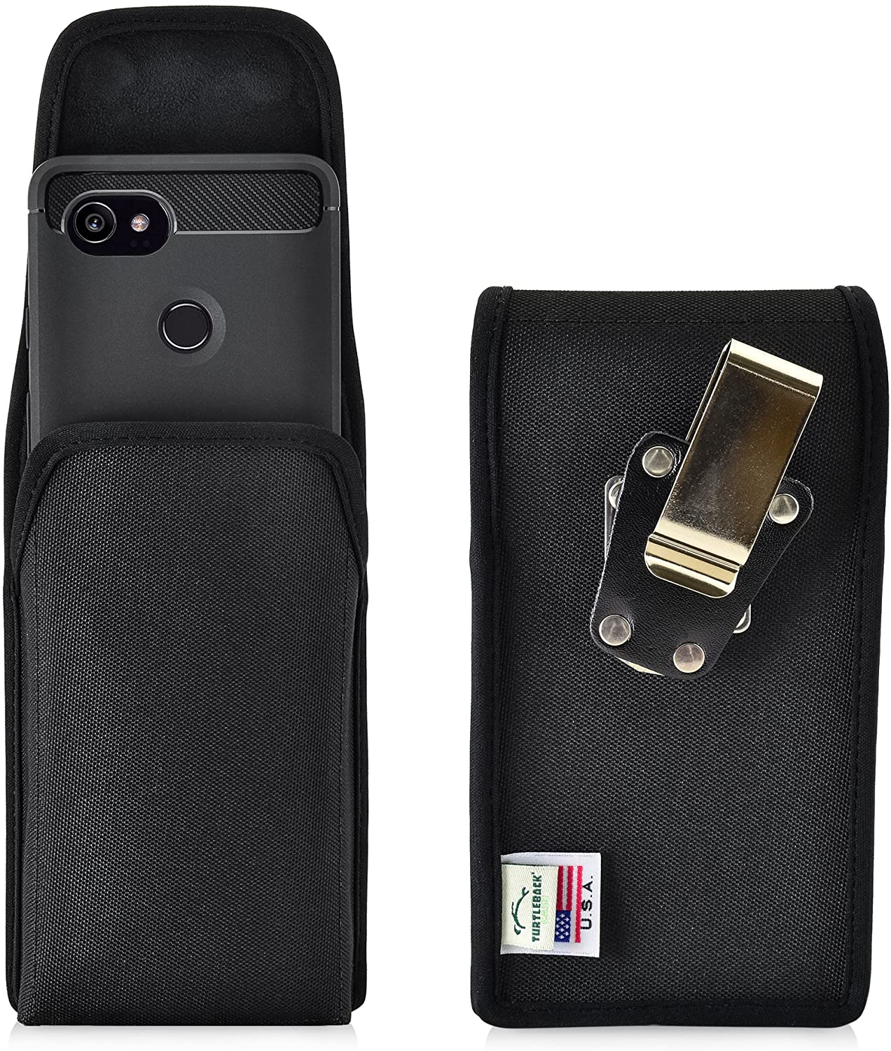 Turtleback Belt Clip Case Made for Google Pixel 2 XL Black Vertical Holster Nylon Pouch with Heavy Duty Rotating Belt Clip Made in USA