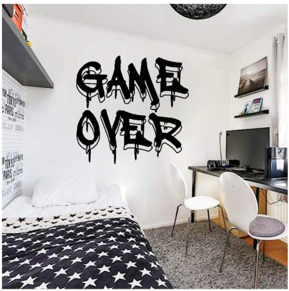Diuangfoong Game Over Wall Decal Gamer Controller Video Game Wall Decals Customized for Kids Bedroom Playroom Vinyl Wall Sticker