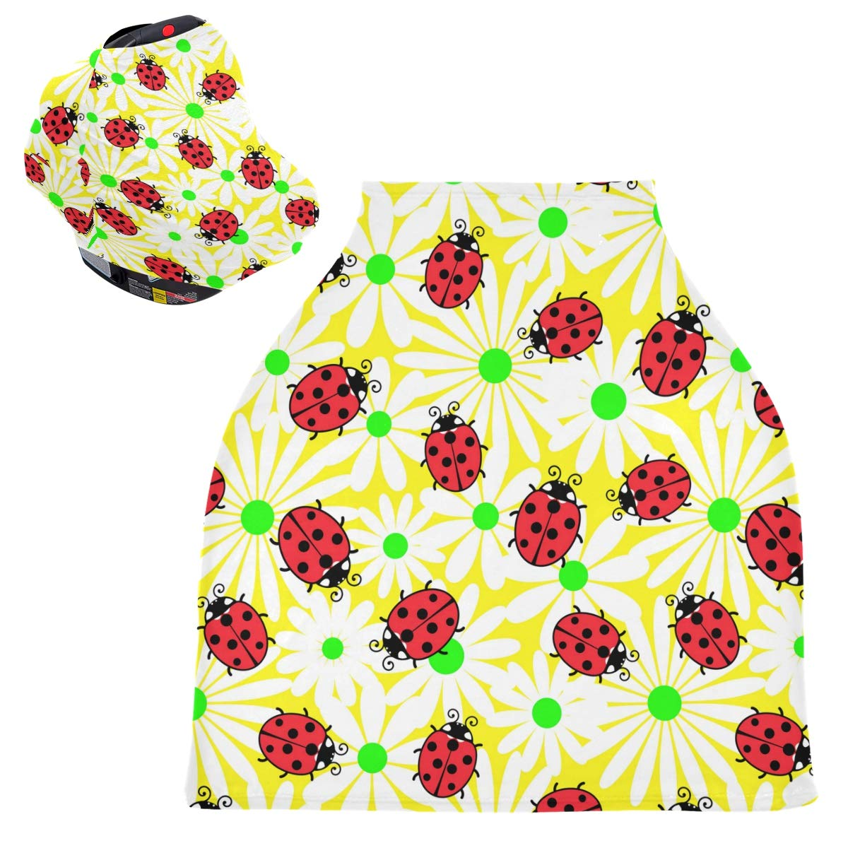 Stretchy Baby Car Seat Canopy - Ladybug Flowers Infant Stroller Cover Multi Use Baby Car Seat Covers Nursing Cover for Baby Boy and Girl
