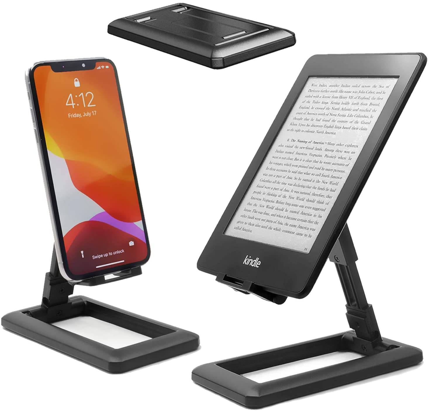 VKTEN Cell Phone Stand, Fully Foldable Portable Phone Stand, Angle Height Adjustable Phone Holder Desktop Cradle Dock Compatible with All Phones, iPad Mini, Nintendo Switch, Kindle, Tablets (Black)