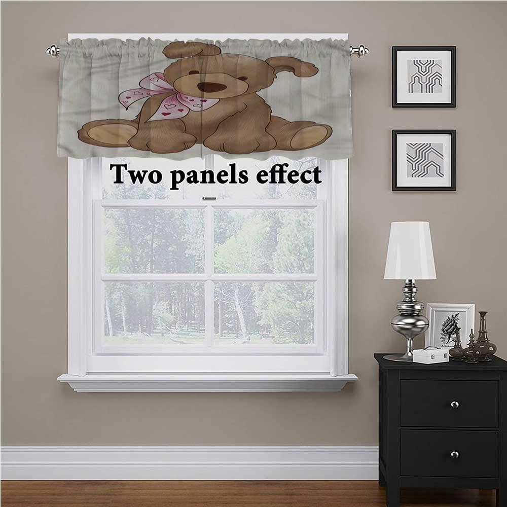 shirlyhome Kids Kitchen Window Curtains Teddy Bear Nursery Theme Toy for Kids Room/Baby Nursery/Dormitory, 42 Inch by 18 Inch 1 Panel