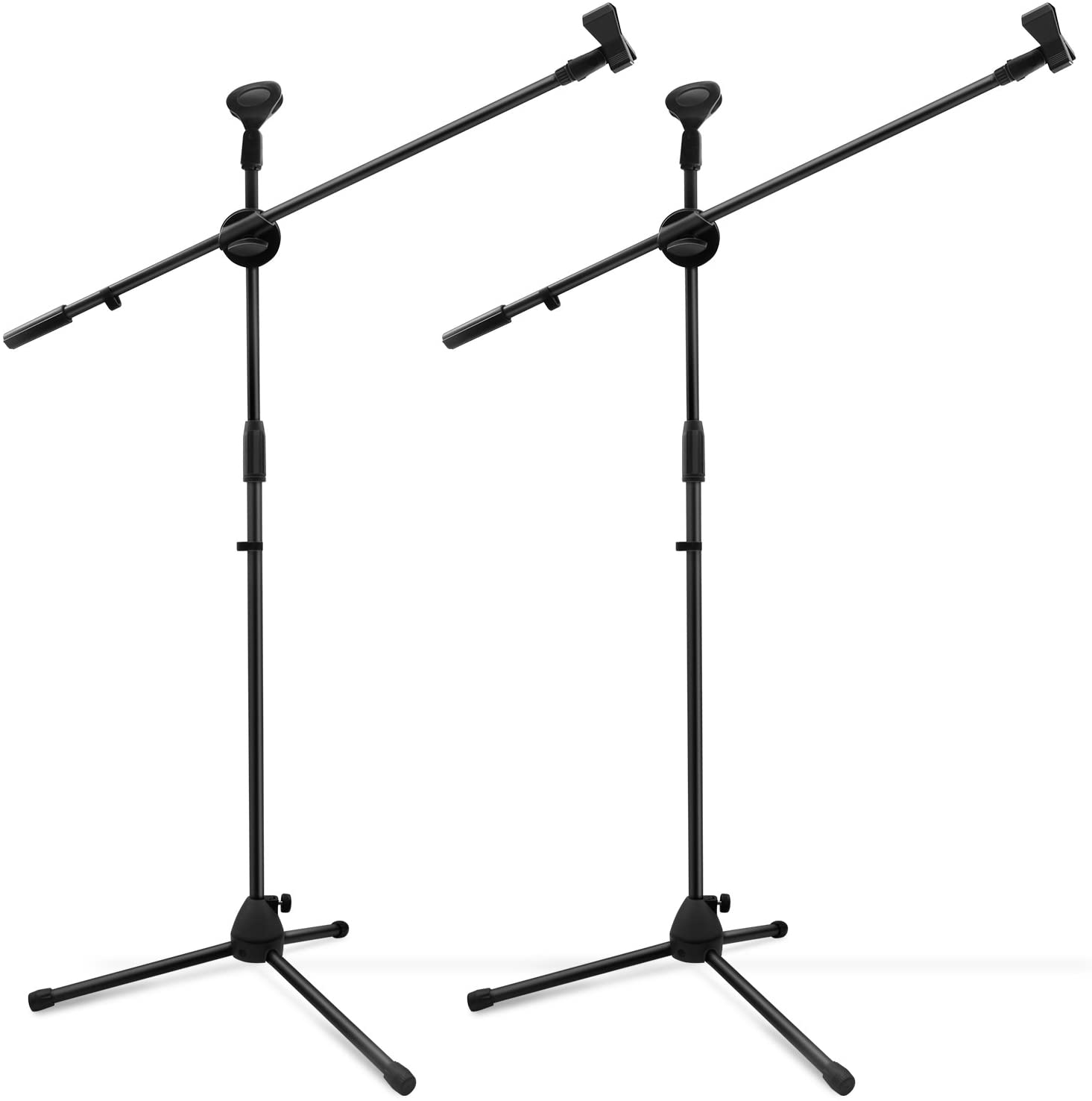 Microphone Stand 2 pack, Ohuhu Tripod Boom Mic Stands, Dual Mic Clip, Collapsible, Black
