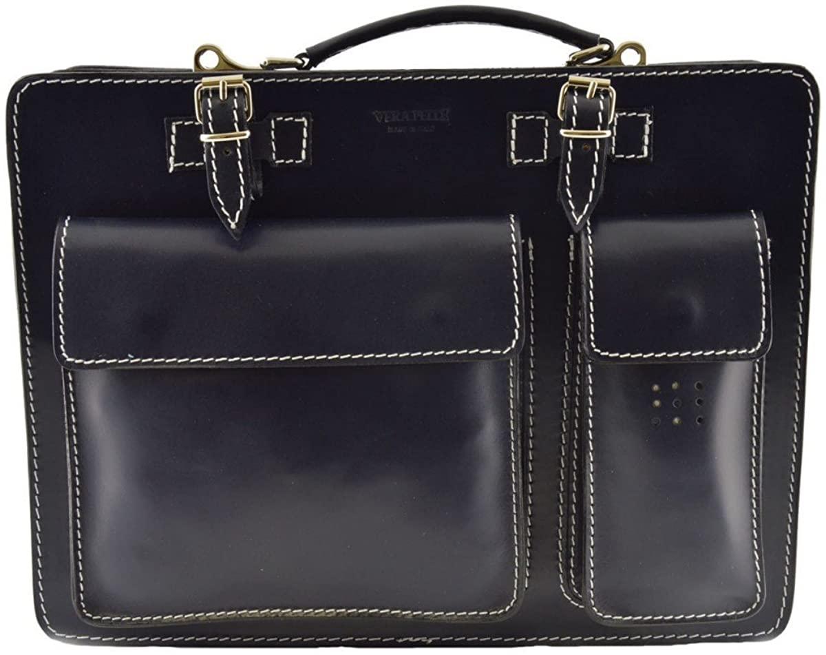 Leather Briefcase Color Blue