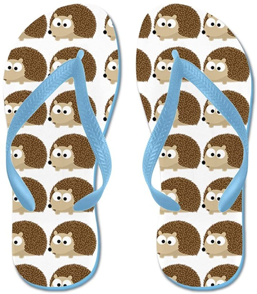Lplpol Cute Hedgehog Pattern Flip Flops for Kids and Adult Unisex Beach Sandals Pool Shoes Party Slippers