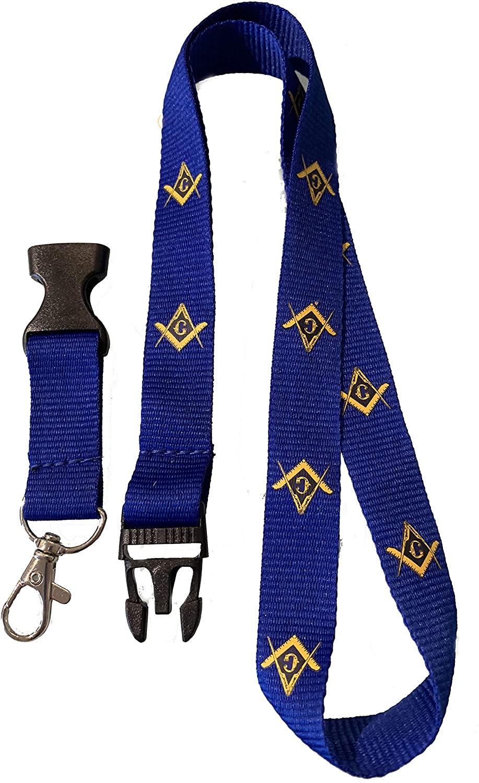 MasonicMan Freemasonry Masonic Blue 27 Inch Lanyard with Detachable Clasp