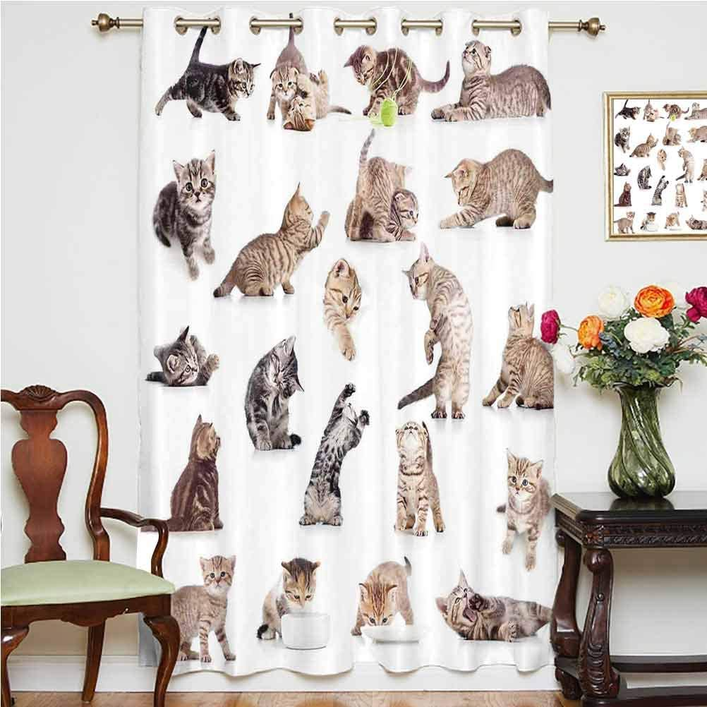 Cat Sliding Door Curtain Collection of Funny Playful Baby Kitten Pet Scottish Tabby Striped Pussu Animal Design Thermal Backing Sliding Glass Door Drape ,Single Panel 52x84 inch,for Kid's RoomGrey Whi