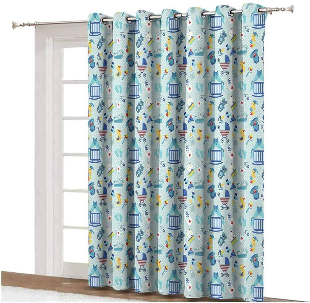 Baby Shading Curtains Newborn Sleep Crescent Moon Pacifier Nursery Star Polka Dots Image Decorative Thermal Backing Sliding Glass Door Drape ,Single Panel 80x108 inch,for Home Decor Pale and Violet Bl