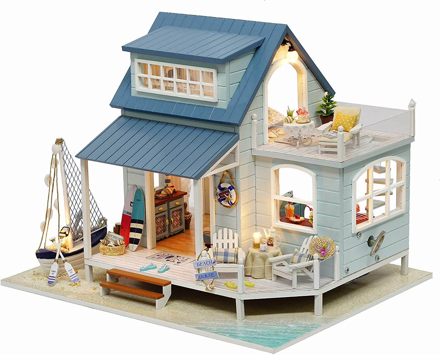 Kisoy Romantic and Cute Dollhouse Miniature DIY House Kit Creative Room Perfect DIY Gift for Friends,Lovers and Families (Time in Caribbean Sea)