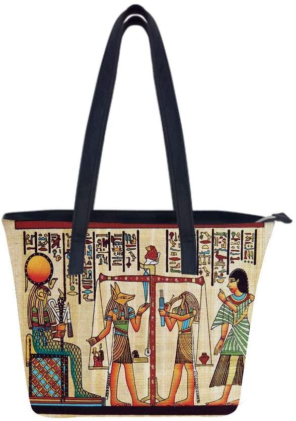 Egyptian Papyrus Manuscript Women Leather Laptop Tote Office Shoulder Handbag Computer Briefcase