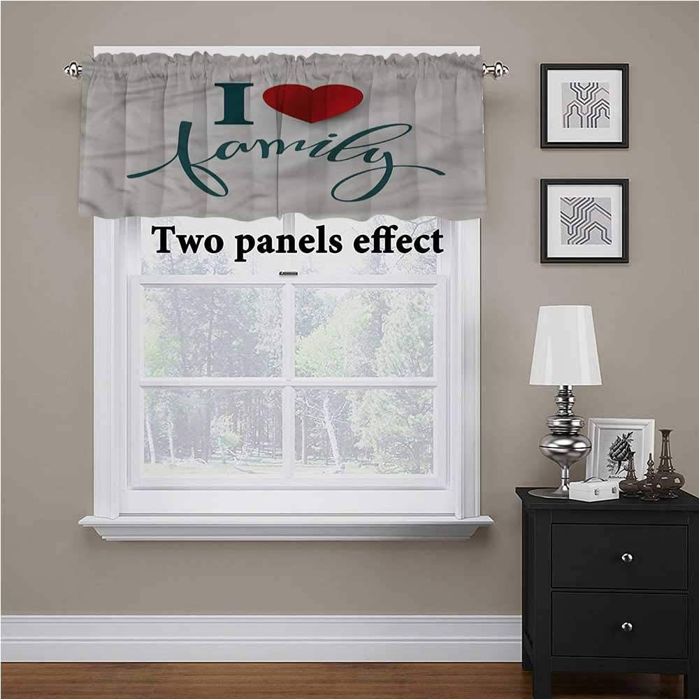 shirlyhome Family Curtain Valance Love and Family Heart for Kids Room/Baby Nursery/Dormitory, 42 Inch by 18 Inch 1 Panel