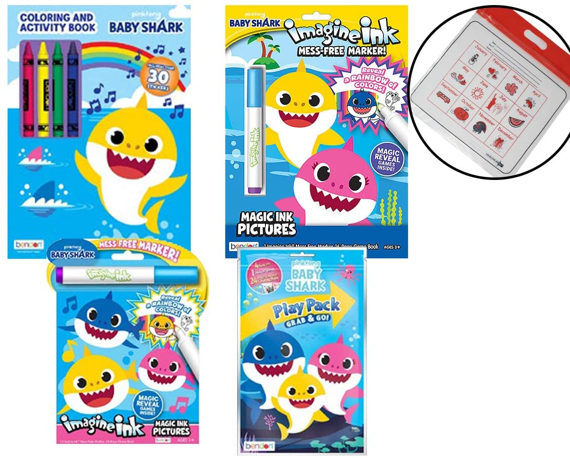 Baby Shark No-Mess Activity Book 4-Pack: 2 Imagine Ink Books, 1 Big Coloring Book and Crayon Set, 1 Play Pack with Stickers, and Calendar Bag