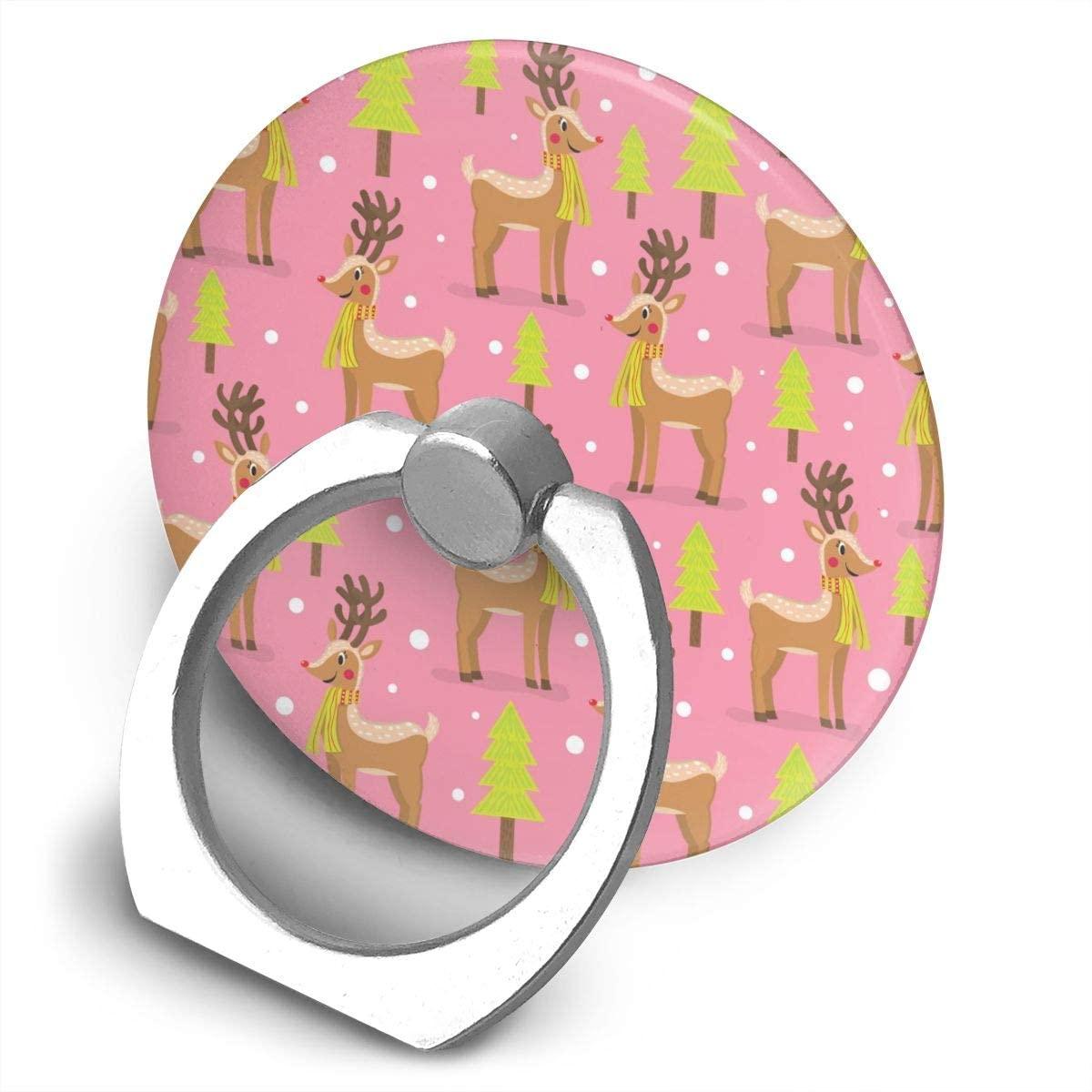 Cell Phone Ring Holder Stand Christmas Tree Cute Deer Pink Adjustable 360°Rotation Round Universal Finger Grip Loop Kickstand with Silver Metal Phone Holder for Women Kids Men Ladies Smartphones