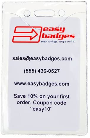 Classic Vertical ID Badge Holder. Holds Standard Sized ID Badges.