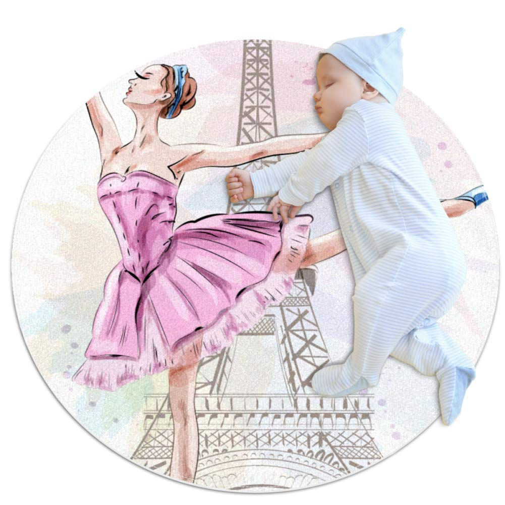 Baby Rug Ballet Tower Round Tent Rug Super Soft Nursery Rug Anti-Slip for Infants Toddlers