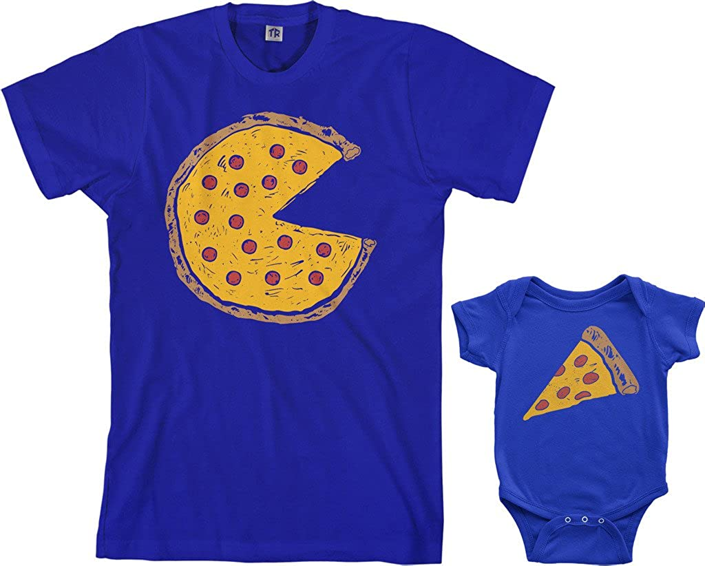 Threadrock Pizza Pie & Slice Infant Bodysuit & Mens T-Shirt Matching Set (Baby: 6M, Royal Blue|Mens: XL, Royal Blue)
