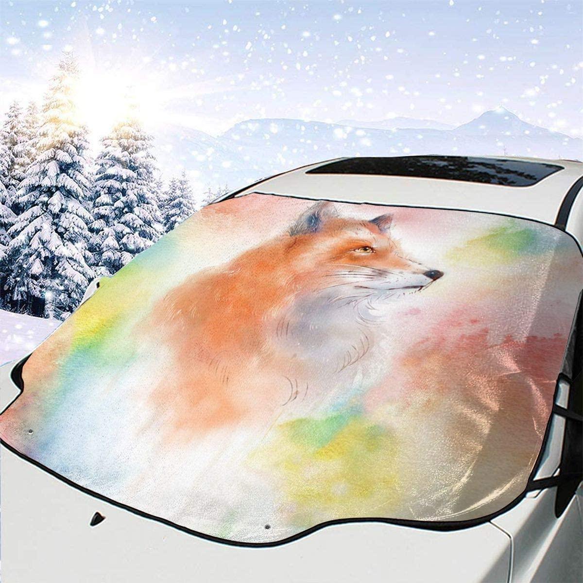 THONFIRE Car Front Window Windshields Winter Sun Shades Colorful Cartoon Fox Cover Rainproof Blocks UV Rays Damage Free Visor Protector Auto Summer Heat Insulation