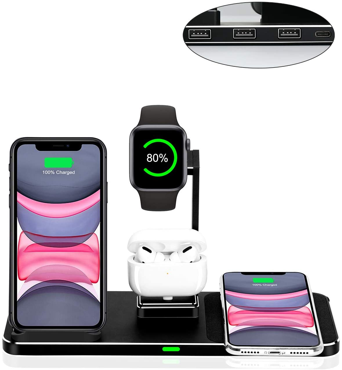 Zapuno Wireless Charger Stand,8 in 1 Aluminum Alloy 20W Wireless Fast Charging Station with 45W PD Charger for Apple Watch/Airpods/iPhone 11 Pro Max/X/XS/XR/XS Max/8 iPad Samsung Google Huawei