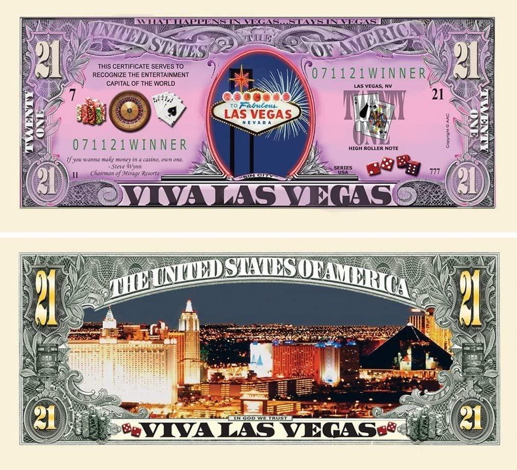 "25 Las Vegas 21 Dollar Bill with Bonus ""Thanks a Million"" Gift Card Set"