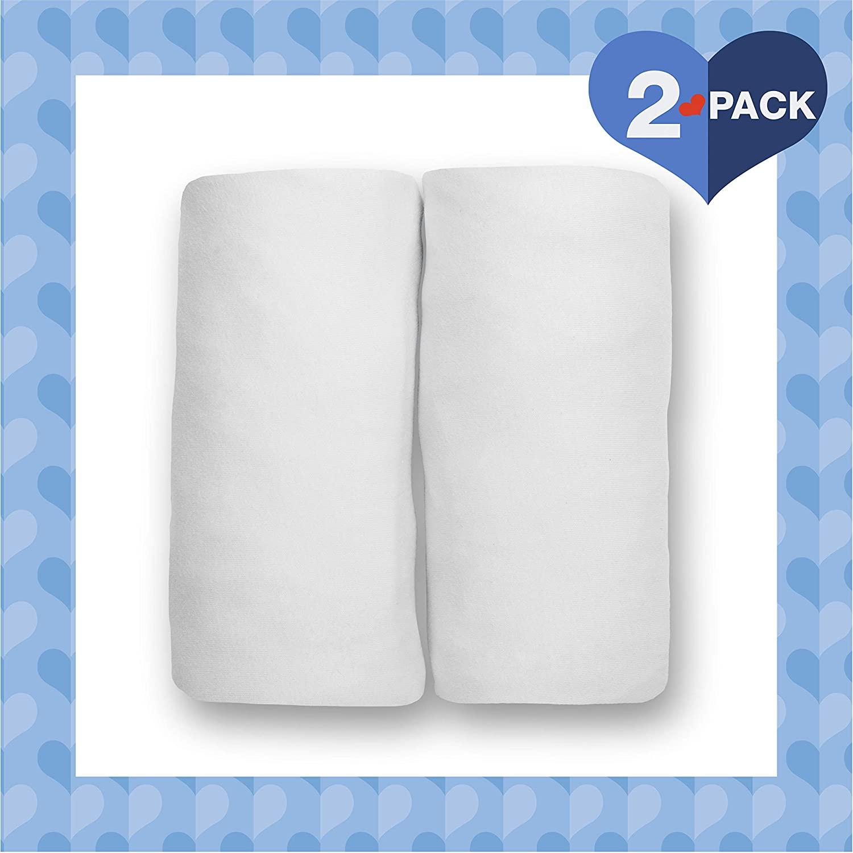 Delta Children Fitted Bassinet Sheet Set – 2 Pack | Solid Color | 100% Jersey Cotton, White