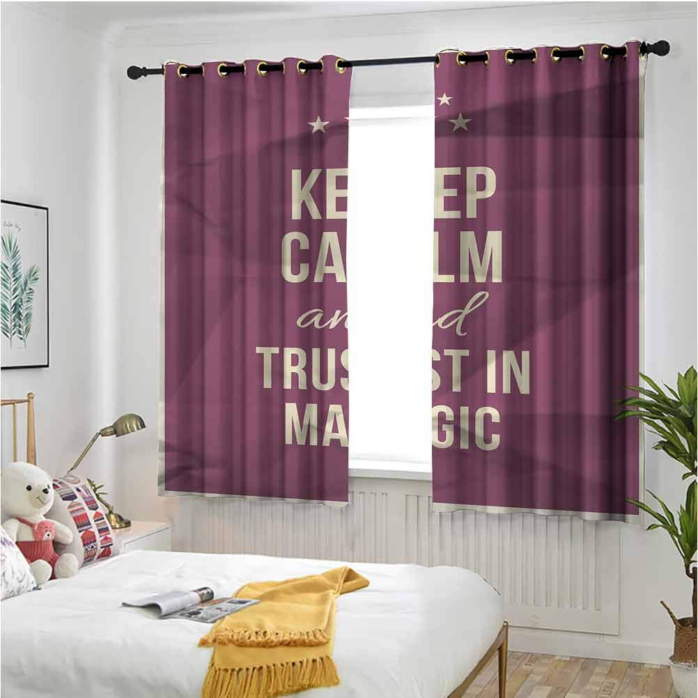 Keep Calm Blackout Drapes Keep Calm and Trust in Magic Quote on Purple Crumpled Paper Image with Frame 72 x 63 inch Short Drapes for Kitchen Bedroom