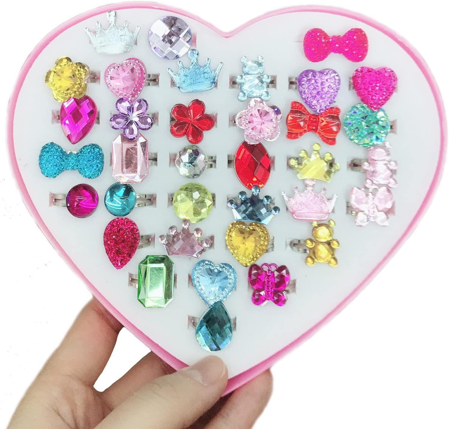 Elesa Miracle 36pcs Kids Girl Adjustable Jewelry Rings, Girl Rhinestone Diamond Rings Pretend Play and Dress up Toy Rings