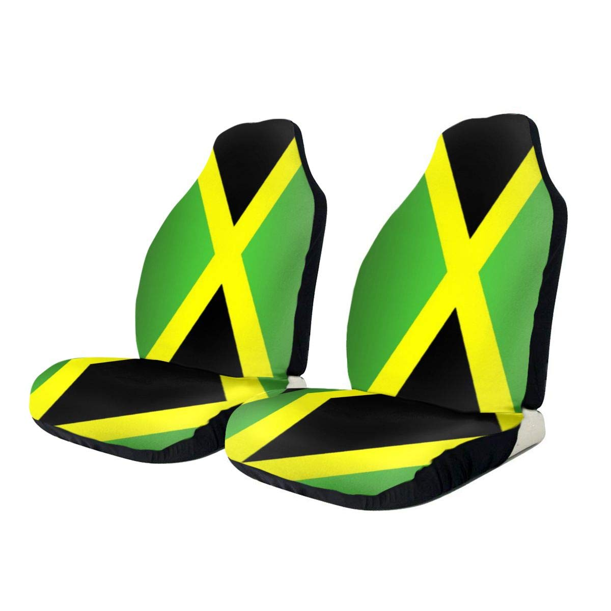 CHILL·TEK Car Seat Covers, Jamaican Flag Auto Seat Covers Set of 2 - Vehicle Seat Protector Car Mat Covers - Universal Fit Full Set for Most Vehicle/Cars/Truck/SUV/Van
