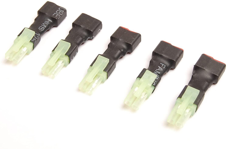 Lot (5) Female T-Plug T Plug to Mini Tamiya Male Connector Adapter Converter