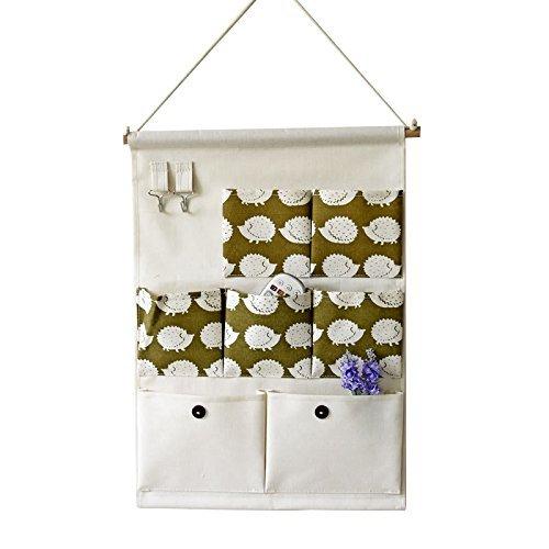 Xaber Kin 19.68'' x 13.78'' Wall Hanging Storage Bags Linen/Cotton Fabric Animal Closet Organizer(7 Pockets with 2 Hangers) (Hedgehog)
