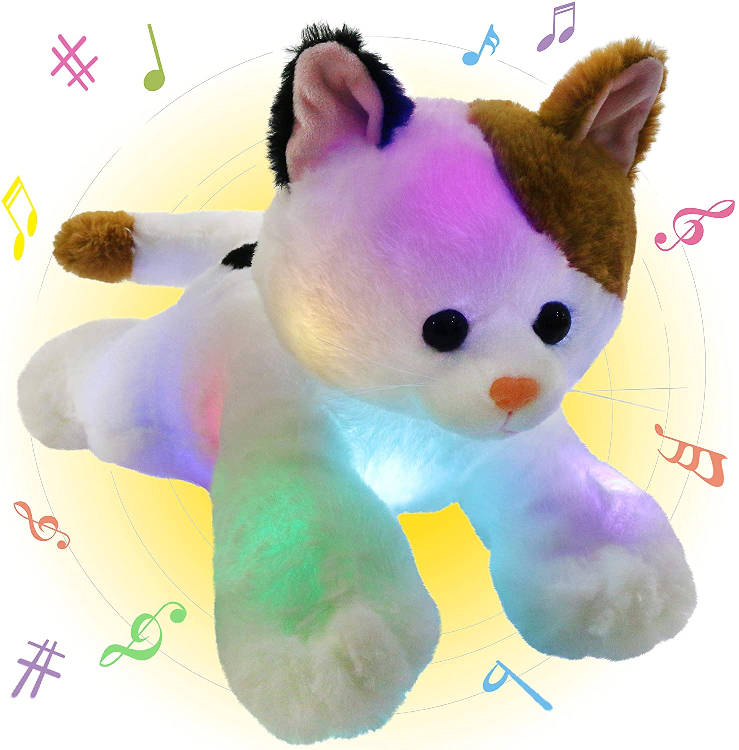 Glow Guards 15'' Musical Light up Stuffed Cat LED Singing Kitty Soft Pillow Plush with Night Lights Lullaby Birthday for Toddler Kids