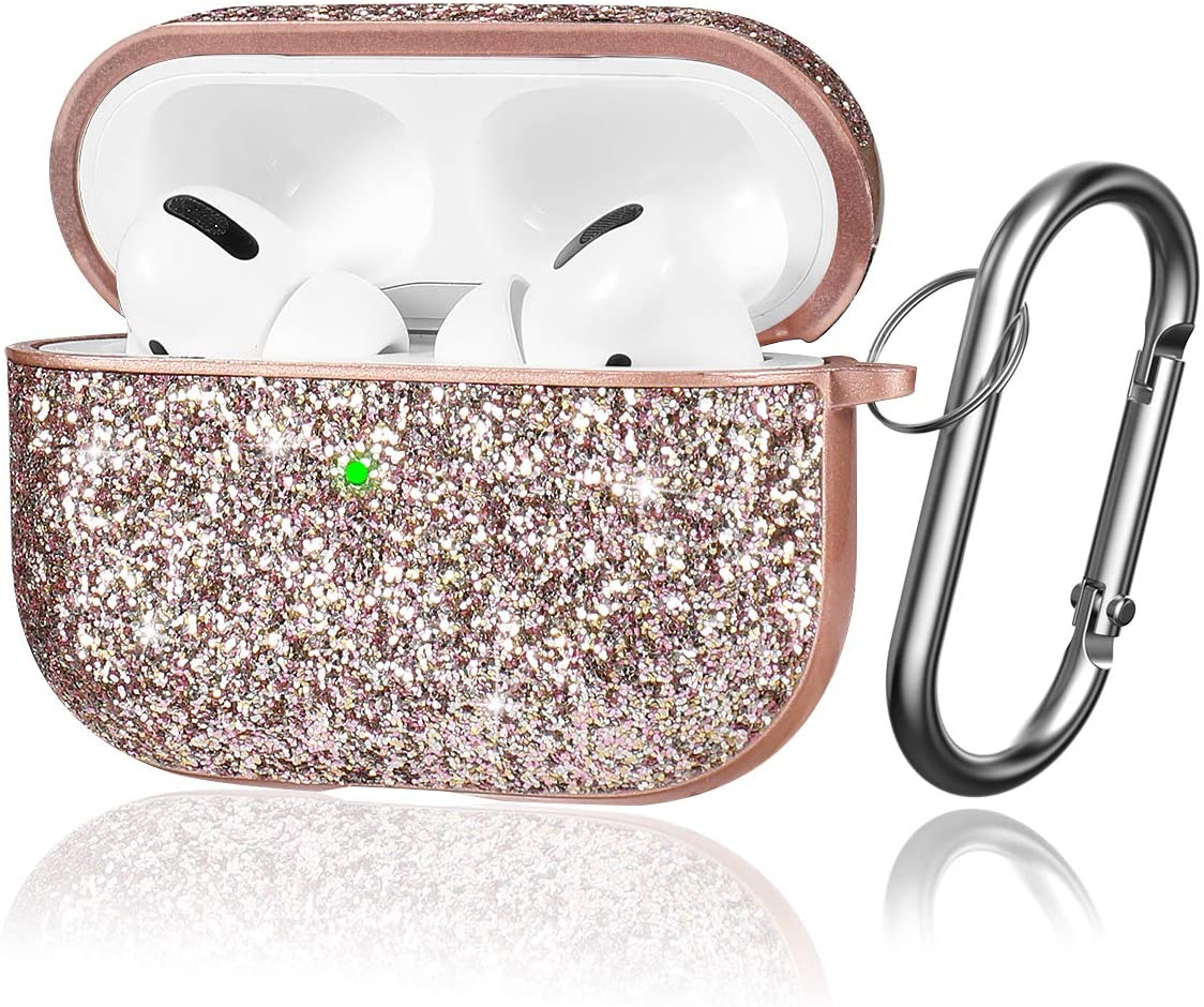 Youtec Glitter Airpods pro Case Cover, Cute Luxury Bling Airpods pro Protective Cover Cases for Girl Women with Keychain Compatible Airpods pro Charging Case 2019[Front LED Visible], Rose Gold