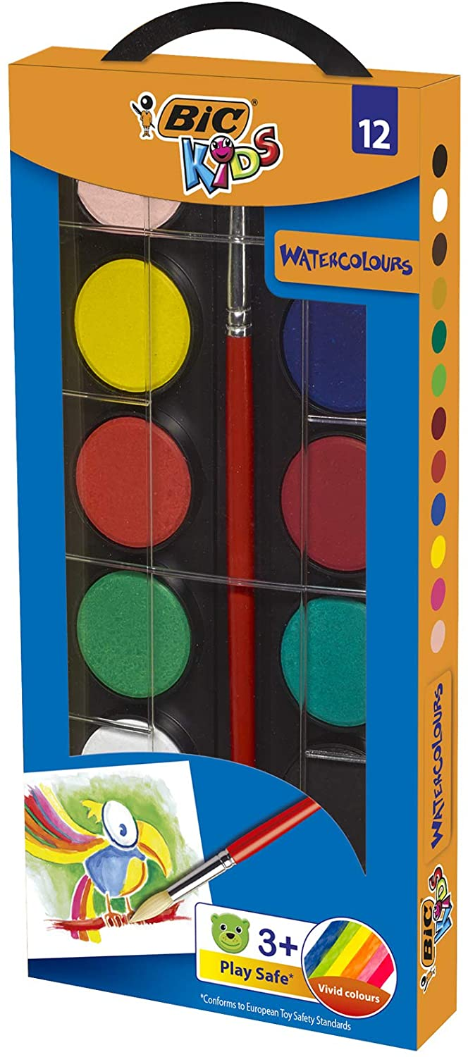 BIC Kids Watercolours Painting Set - Assorted Colours, Pack of 12