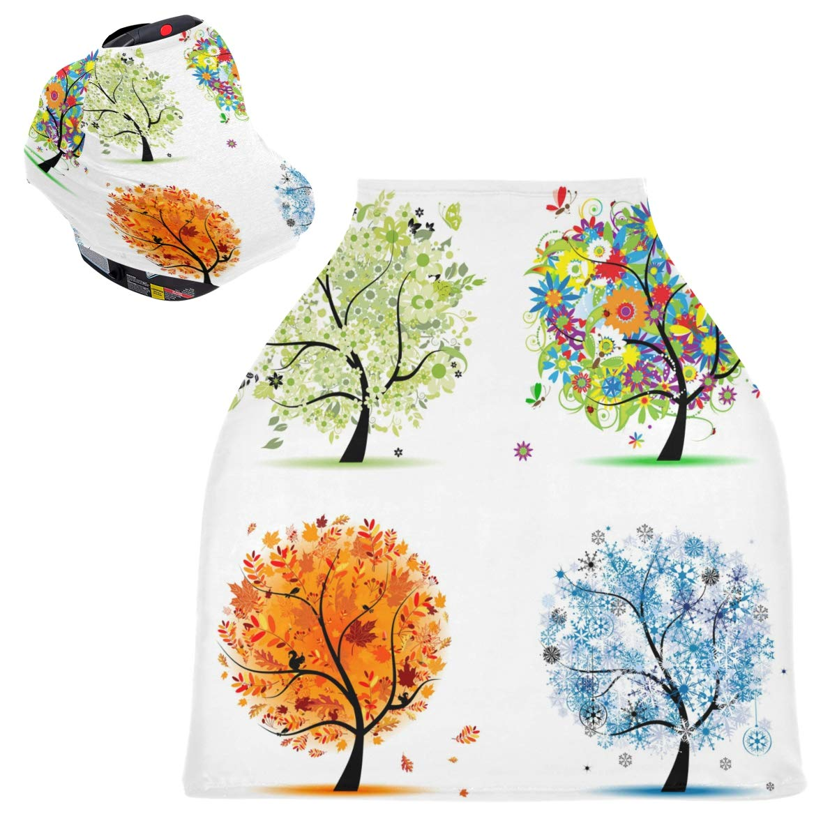 Stretchy Baby Car Seat Canopy - Four Seasons Art Tree Infant Stroller Cover Multi Use Carseat Scarf Nursing Cover for Boy